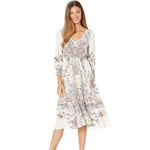 Lucky Brand Felicity Dress Large Maxi Floral Blue